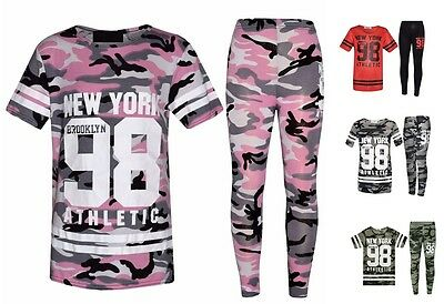 Girls Kids Camouflage New York Brooklyn 98 Print Top & Leggings Set Ages 7-13