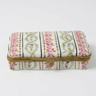Antique French Porcelain Trinket Box Hand Painted Flowers Gilt Ormolu Rectangle