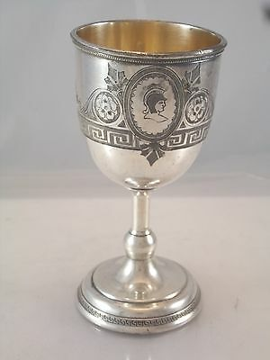 1860' Victorian Cameo Medallion Water Cup Greek Key Silver Plate Wine Goblet