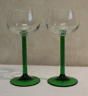 "Set of 2 Luminarc Wine Glasses Clear Bowl Emerald Green Stem France 6.5"" Tall"