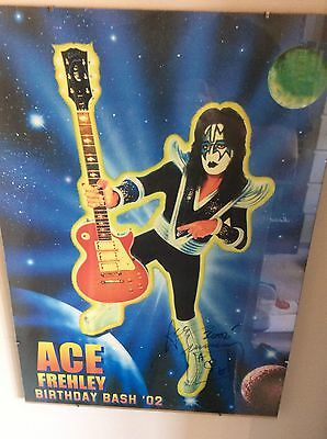 Ace Frehley Birthday Bash 2002 Rare Signed Poster Kiss