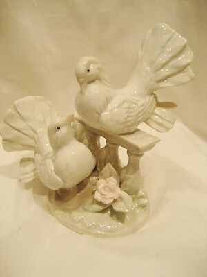 Pretty China Figure Of Two White Turtle Doves On A Bench With Pink Rose