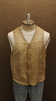 Vtg 50's Deerskin Well Worn Mountain Man Vest Trashed Deer Wear Rendezvous 46