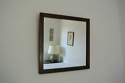Vintage Mid Century Oak Square Wall Hall Mirror Rustic Wood Frame Arts & Crafts