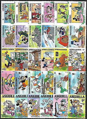 WALT DISNEY CARTOON - 30 Different Stamps **MNH** (Lot 1) + FREE SHIPPING !!!