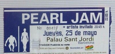 Pearl Jam : Ticket Original + Pase Vip  !!!!!! (Barcelona 2000) Spain