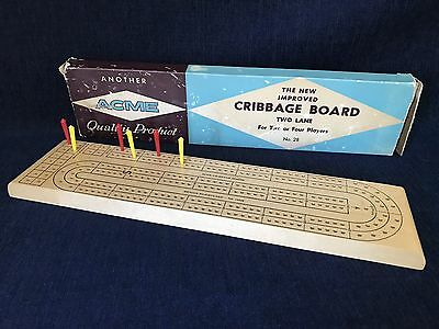 Vintage ACME Cribbage Board No.28 Two Or Four Players
