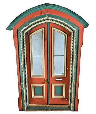 1870's Post-Fire Chicago Gothic Victorian Cottage Painted Pine Wood Double Door