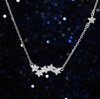 """925 Sterling silver Star Micro Pave Crystal Pendant Necklace 16-18"""" Gift Box I5"""