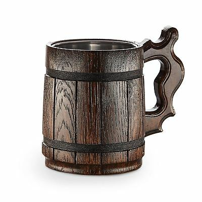 Oak Beer Mug - Wooden Tankard 0.5l Handmade Fast UK Delivery