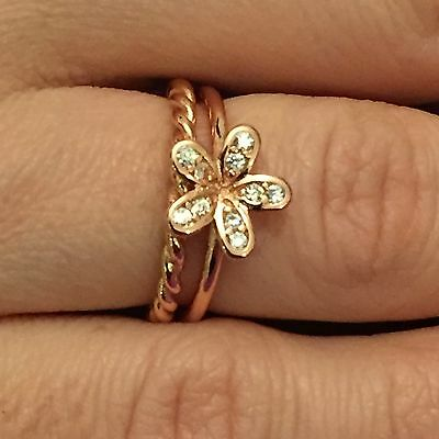 Genuine Sterling Silver Dazzling Daisy & Twisted Stacking Ring Rose Gold sizes