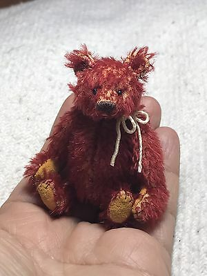 "Miniature Hand Sewn 3in. RED ""Alfonso"" Mohair Teddy Bear by L. Wright"