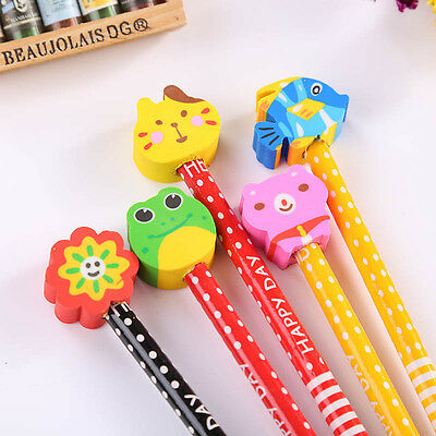 5pcs Cartoon Doublehead Pencils HB Corks Non Toxic Sketch Students Children Kids