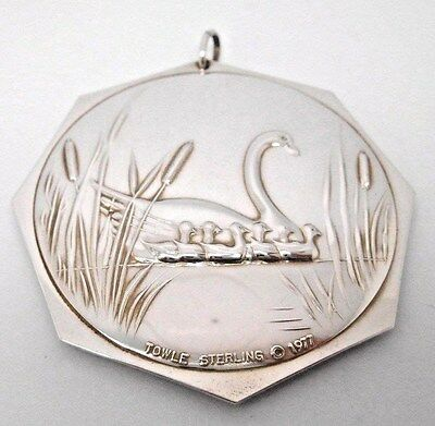 """Vintage 1977 TOWLE STERLING """"Seven Swans A Swimming""""  Ornament / Medallion"""