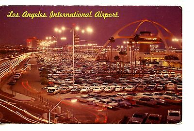 Los Angeles California International Airport-Night-Cars Parked-Vintage Postcard