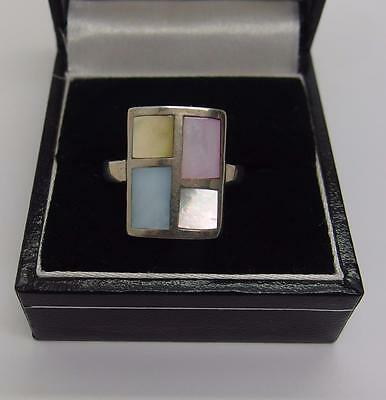 Handcrafted 925 Sterling Silver Ring Mother of pearl Size P 1/2 UK 8 US #6