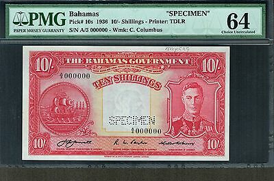BAHAMAS 1936 10/ SHILLINGS KING GEORGE SPECIMEN P-10s CHOICE UNC PMG 64