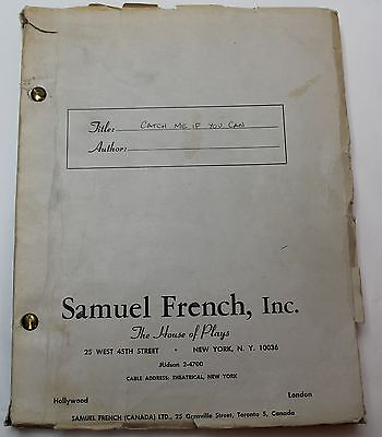 Catch Me If You Can * 1965 Play Script Broadway New York Theater Jack Weinstock