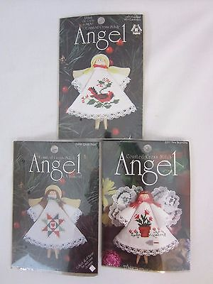 Clothespin Counted Cross Stitch Christmas Ornament Kit Angel - Set of 3 NIP