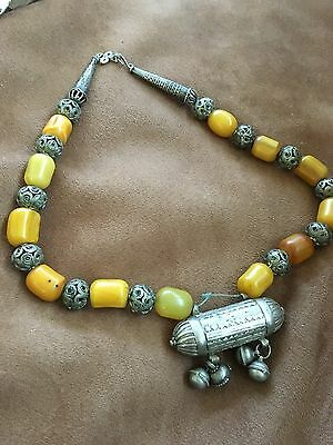 Heavy Silver Bedouin Necklace purchased in Saudi Arabia with Copal/Amber Beads