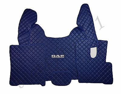 Set of Floor Mats Covers For New DAF XF 106 AUTOMAT RHDrive BLUE Eco Leather