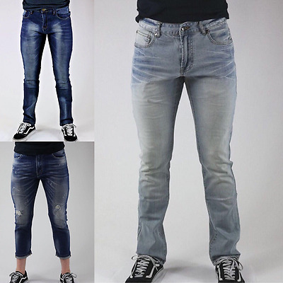Men's Distressed Ripped Destroyed Wash Denim Ankle Skinny Jeans