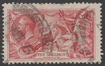 GB KGV 5s. Rose-Red SG416 Five Shillings SEAHORSES George V 1919 Used Stamp