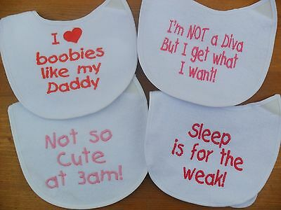 Personalised newborn baby gift  bibs embroidered  4 designs any colour or blank