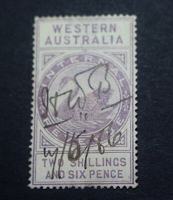Postage Stamp Western Australia Purple Two Shillings & Six Pence Pen Cancel 57