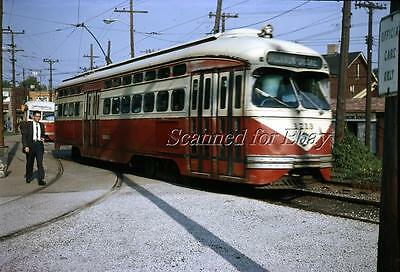 Pittsburgh Trolley #1713 Castle Shannon PAT 1972 ORIGINAL PHOTO TRANSPARENCY