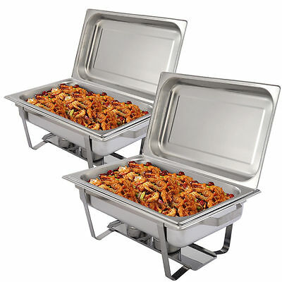 Food Chafing Pans Dish Rectangular Warmer Buffets Catering Parties Dining Set