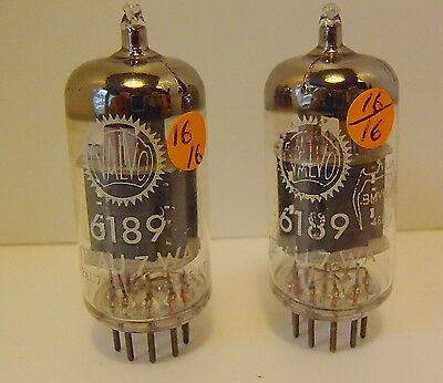 2 x Valvo 6189 = 12AU7WA   getter !!  very rare  1 Hole in side TOP !!  military