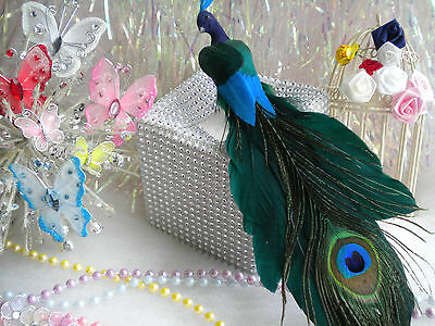 Peacock Bird Feathered Tail Wedding Decoration Topper Christmas Craft Supplies
