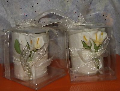 2 -Tealight Candles with Calla-Lilly Flowers - NEW IN BOXES