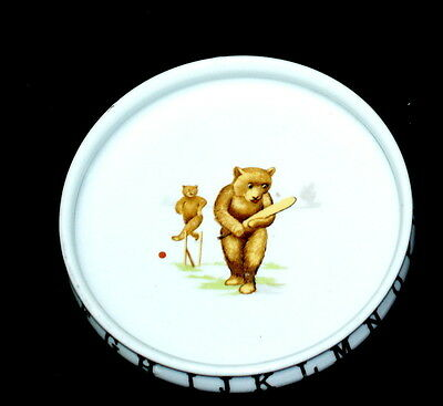 "Antique 7"" Child's Dish With Bears Playing Cricket C.1900"