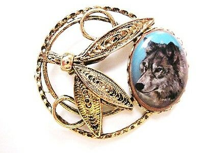 Dream Catcher Wolf Gold Plated Original Art Pin