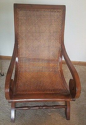 Antique 19th Century Anglo Indian British Colonial Indies Caned Plantation Chair
