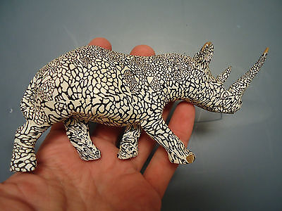 Hand Carved Covered Wrapped Art Wooden Rhino Rhinoceros Figurine Sculpture