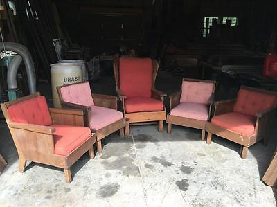 VINTAGE SET: 5 HABITANT LODGE or RANCH CHAIRS, ONE is WING CHAIR!  (ARCH - 214)