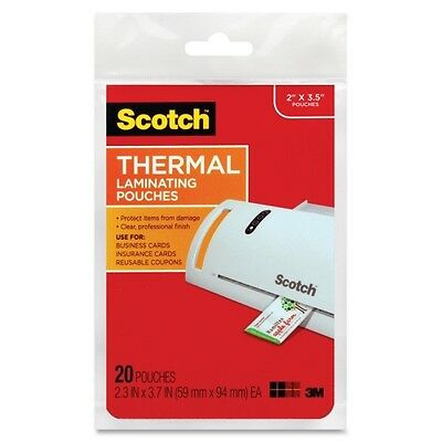 """3M Scotch TP5851-20 Thermal Laminating Pouches Business Card Size 20PK 2"""" x 3.5"""""""