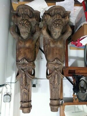 """LOT OF 2 RARE ANTIQUE CARVED WOOD CORBELS 56"""" x 15"""""""