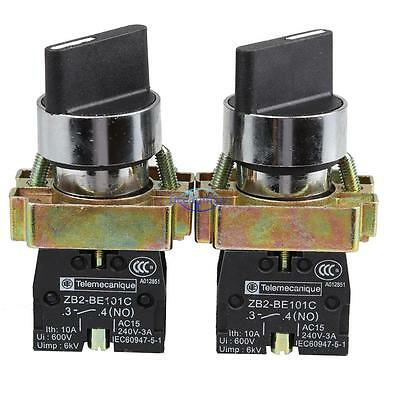 2Pcs 10A 2 Position NO NC Maintained Rotary Selector Switch XB2-BD21C