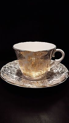 Colclough tea cup and saucer Gold guild pattern ~ beautiful made in England