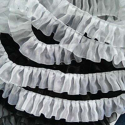 "5 Colours 38MM 1 1/2"" Ruffle Gathered Lace Pleated Trim Ribbon Trimming Yards"