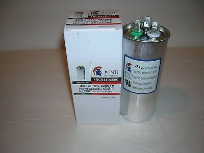 Run Capacitor-45 + 5 MFD/UF-370/440V-Dual-Castor Oil Filled-U.L.-Venti Air Corp.