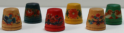 Set of 6 Anri Wooden Thimbles from Italy 1980s Vintage