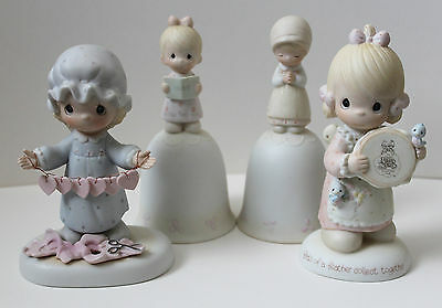 Lot 4 Precious Moments 1980s Club Hearts Prayer Christmas Figures Bells