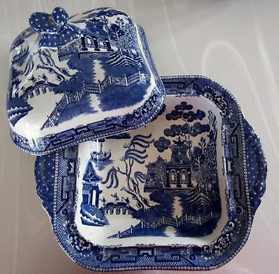 """ANTQ RIDGWAY BLUE WILLOW SQ COVERED SERVING DISH 10""""x 8"""" STAFFORDSHIRE ENG MINT!"""
