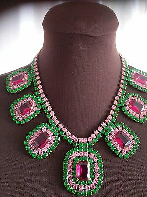 Vintage CZECH Republic Green & Pink Rhinestone  Couture Necklace So Fab!