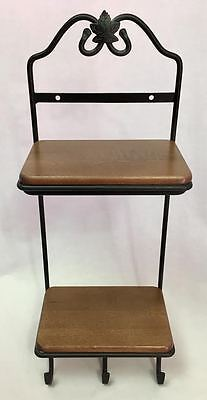 Longaberger Wrought Iron Stack Rack w/ Two Rich Brown Woodcrafts Shelves